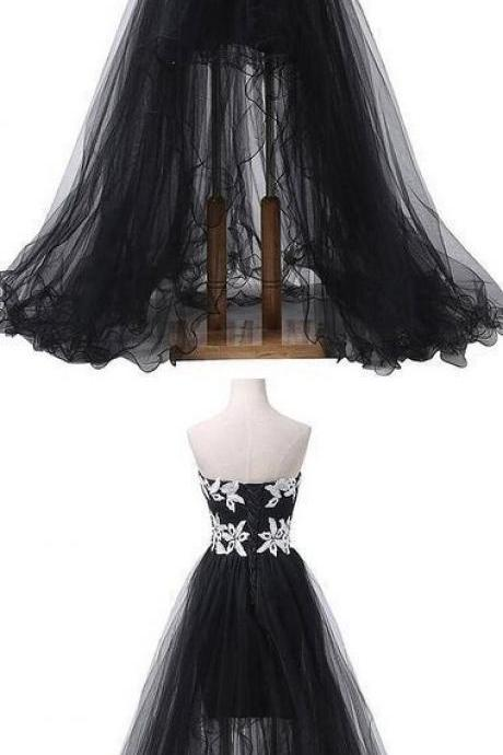 Off Shoulder Black Tulle High Low Prom Dress With Lace 2020 Long Prom Party Gowns ,Evening Dress long