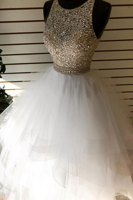 Charming Two Pieces Beaded Crystal Long Prom Dress Luxury Women Party Gowns Custom Made Graduation Party Gowns 2020