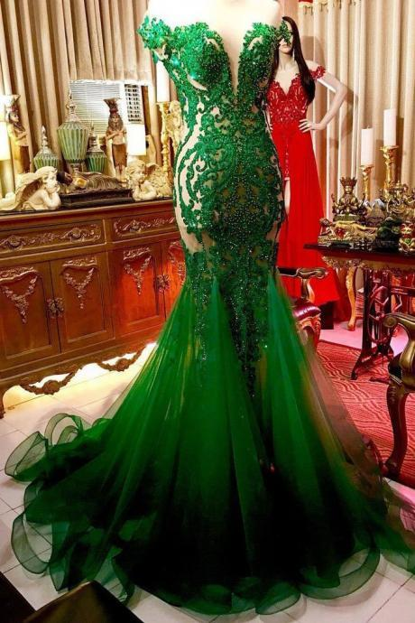 Plus Size Green Lace Evening Dress Mermaid Beaded Long Prom Party Gowns Custom Made Prom Gowns ,long Prom Gowns 2020,Luxury Women Gowns