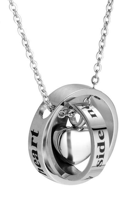 Stainless Steel Cremation Necklace Pendant Ashes Keepsake Memorial Jewelry Cheap urn memorial jewelry With forever in my heart