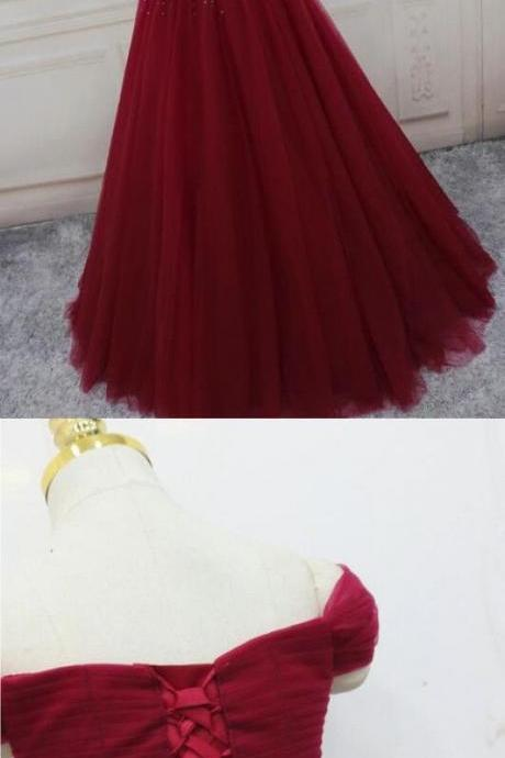 Off Shoulder Wine Red Beaded Ball Gown Prom Dresses 2020 Custom Made Women Pageant Gowns , Sexy Sweet 15 Quinceanera Dresses