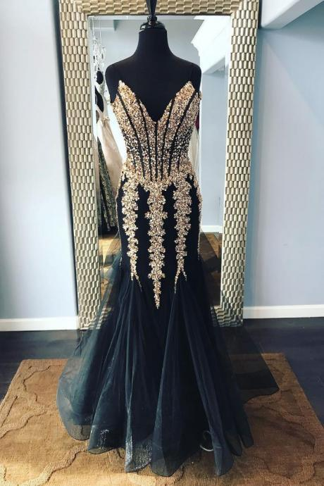 Charming Black Beaded Tulle Mermaid Prom Dress Custom Made Women Prom Gowns , Formal Evening Dress, Wedding Guest Gowns .