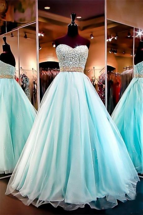 Stunning Beaded Green Organza Long Prom Dresses Custom Made Women Party Gowns ,Formal Evening Dress