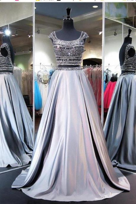 Charming Two Pieces Beaded Crystal Silver Satin Long Prom Dress , Formal Evening Dresses,Formal Two Pieces Cocktail Party Gowns