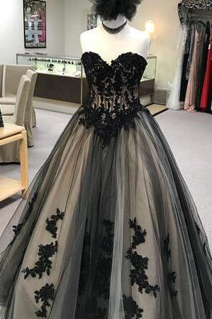 Fashion Custom Made Black Tulle Prom Dresses Wedding Party Gowns Plus Size Quinceanera Dresses