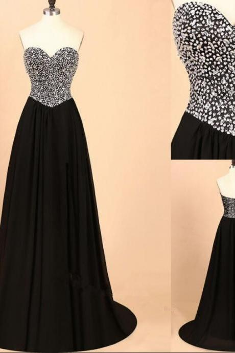 Charming Black Beaded Crystal A Line Long Prom Dress Sweep Train Prom Party Gowns Custom Made Sweet Quinceanera Dresses
