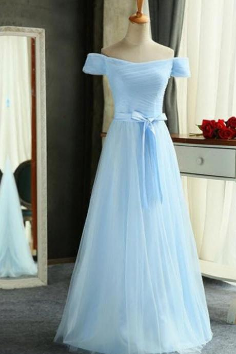 Sexy Light Sky Blue Ruffle Long Prom Dress A Line Cheap Bridesmaids Dresses Custom Made Prom Gowns
