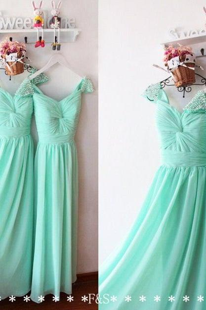 Sexy A Line Green Chiffon Beaded Prom Dress Plus Size Women Party Gowns ,Formal Evening Dress, Wedding Party Gowns