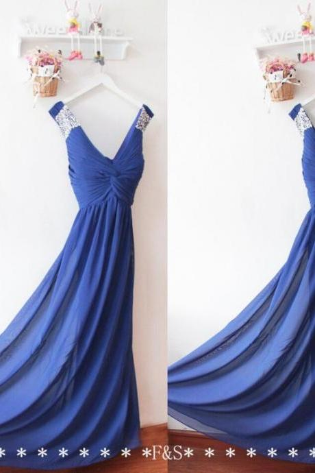 Custom Made Royal Blue Chiffon Beaded Prom Dresses Custom Made Women Gowns , Long Prom Gowns