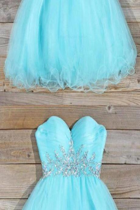 Stuiing Light Blue Beaded Short Homecoming Dress Sweet 15 Prom Gowns , Junior Party Gowns , Short Cocktail Gowns