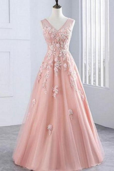 Sexy V-Neck Lace Prom Dress A Line Wedding Guest Gowns , Plus Size Wedding Party Gowns