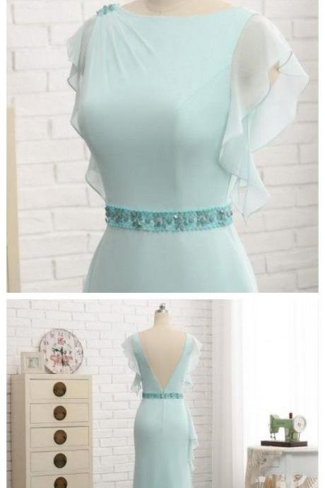 Sexy Backless mint Green Beaded Belt Long Prom Dress Scoop Neck Prom Gowns ,Women Party Gowns