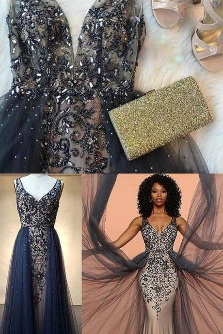 Charming Modest Unique Fashion Tulle with appliques Navy Prom Dress, prom dresses,Charming Formal Evening Dress, Formal Gowns 2020