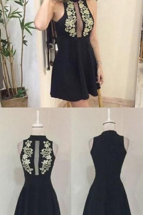 Fashion Black Scoop Neck Short Homecoming Dress With Lace Custom Made Mini Cocktail Gowns , Short Graduation dress