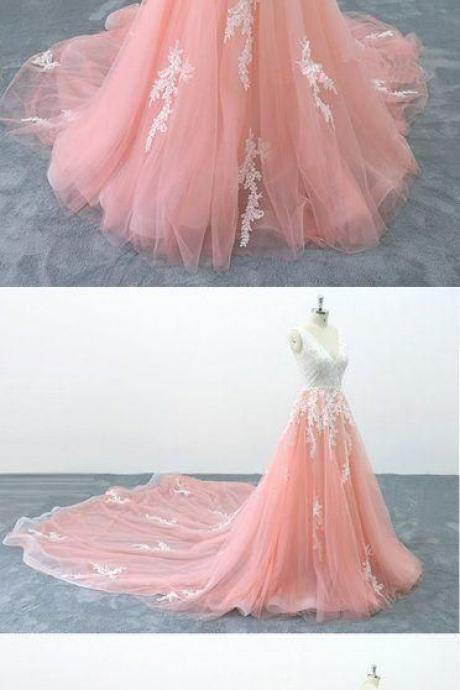 Custom Made Pink Tulle A Line Prom Dresses With White Lace Appliqued Plus Size Quinceanera Dress, Cheap Quinceanera Party Gowns