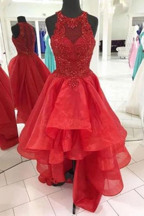 Red organza scoop neck high low strapless homecoming dress with beading,2020 Shiny High Low Homecoming Gowns 2020