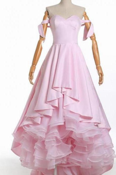 Pink Satin Skirts Tiers Long Prom Dresses Custom Made Women Pageant Gowns ,Formal Evening Dress, Custom Made Prom Gowns
