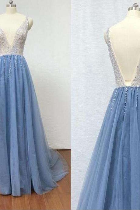 New Arrival V-Neck Beaded Tulle Long Prom Dress With Slit Custom Made Prom Gowns ,A LINE Evening Dress 2020