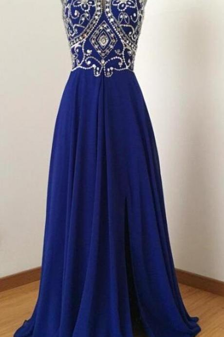 Stunning Beaded Crystal Royal Blue Satin Long Prom Dress Plus Size Prom Party Gowns, Wedding Formal Party Gowns 2020
