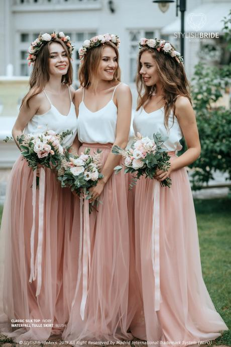 New Arrival A Line Cheap Bridemaid Dress Tulle Women Party Gowns ,Custom Made Bridesmaid Gowns