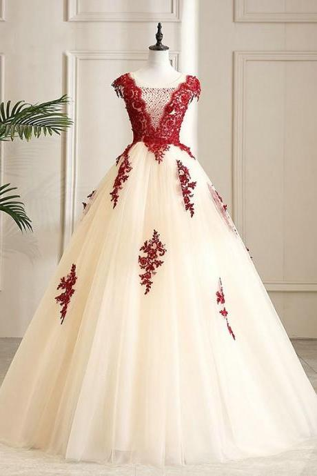 Fashion V-Neck Ball Gown Long Prom Dress With Lace Appliqued Quinceanera Dresses, Long Quinceanera Gowns 2020