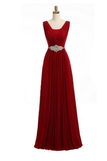 Fashion V-Neck Burgundy Chiffon Long Prom Dress With Ribbon Beaded Formal Evening Dress ,Cheap Prom Gowns 2020