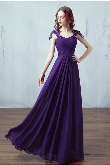 Cheap Purple Chiffon Ruffle Long Prom Dress Dress With Caped Sleeve Custom Made Women Party Gowns ,Long Bridesmaid Dresses
