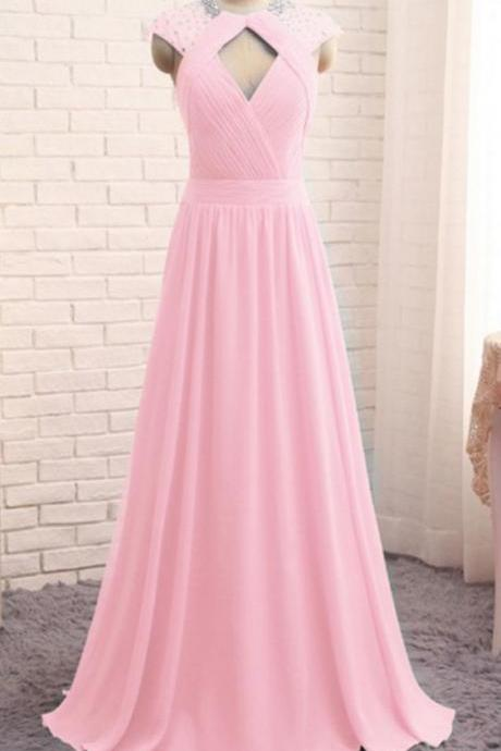 Off Shoulder A Line Pink Chiffon Beaded Long Prom Dress , Women Summer Gowns ,Cheap Prom Gowns