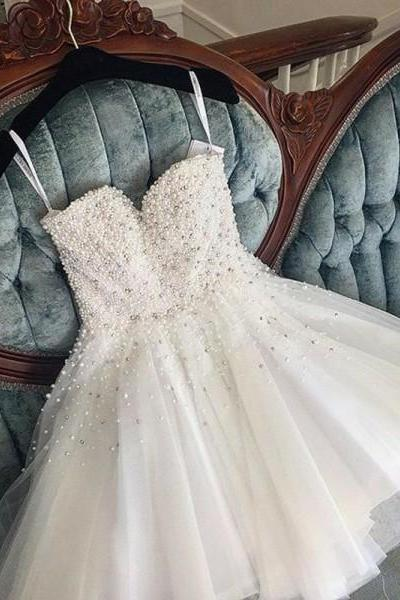 Spaghetti Strap Beaded Tulle Short Homecoming dress A Line Women Prom Gowns ,Short Cocktail Gowns 2020