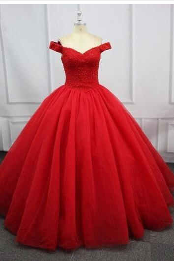 Sexy Red Quinceanera Dresses For 15 Party Prom Gowns Tulle Floor-Length Formal Sweet 16 Debutante Gown
