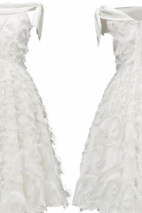 Off Shoulder White Short Homecoming Dress Women Summer Dress, Short Cocktail Party Gowns