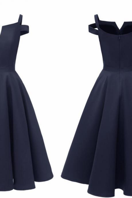 New Arrival Navy Blue Satin Short Homecoming Dress Cheap Women Summer Gowns ,Short Prom Gowns , Junior Party Gowns