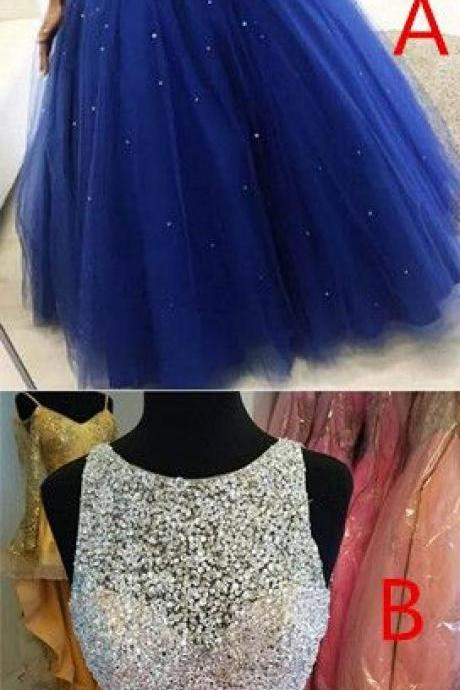 Luxury Beaded Crystal Royal Blue Tulle A Line Long Quinceanera Dresses Custom Made Women Prom Gowns Plus Size Quinceanera Gowns