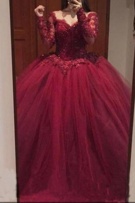 Luxury Long Sleeve Sheer Beaded Burgundy Ball Gown Quinceanera Dresses 2020 Sexy Pricess Quinceanera Gowns , Long Prom Gowns With Beaded