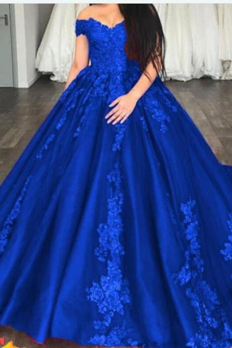 Off Shoulder Royal Blue Satin Ball gown Qinceanera Dress 2020 Sexy Sweet Long Prom Party Gowns .Sweet 15 Quinceanera Gowns