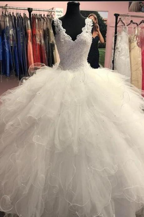 Sexy Ball Gowns Lace Appliqued Beaded Long Quinceanera Dresses With Skirts Tiers ,Wedding Dress 2020