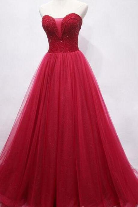 Plus Size Red Sequin Beaded Long Prom Dresses Custom Made Women Party gowns, Cheap Prom Gowns
