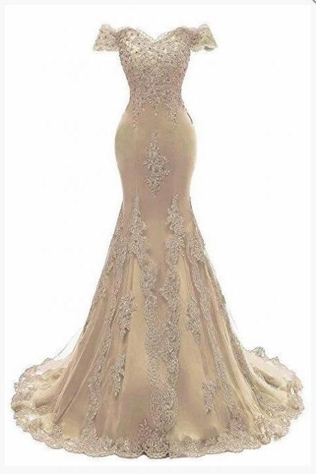 Off Shoulder Gold Tulle Lace Prom Dresses Mermaid Sweep Train Women Gowns ,Custom Made Formal Evening Dresses