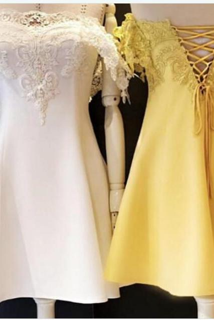 Off Shoulder White Lace Short Prom Dresses A Line Cocktail Party Gowns , Wedding Party Gowns ,Short Cocktail Dress