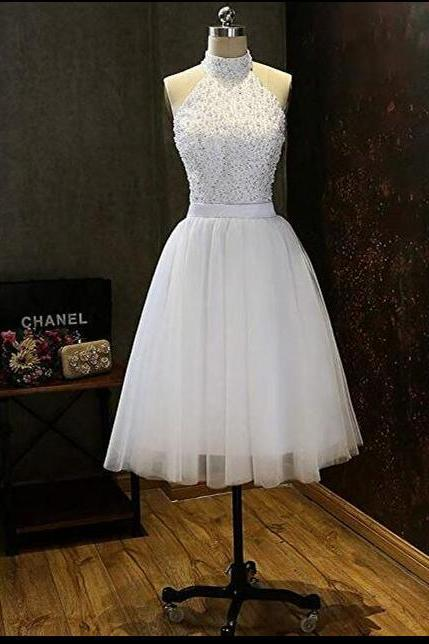 New Arrival White Tulle Beaded Short Homecoming Dresses A Line Wedding Guest gowns ,Custom Made Party Gowns
