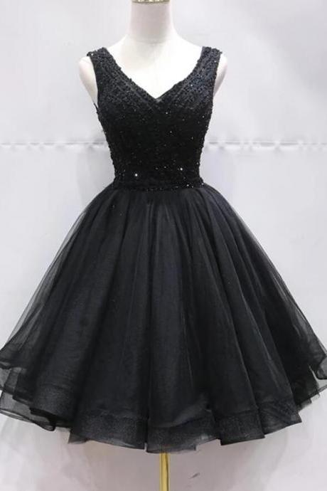 Black Tulle Beaded Ball Gown Homecoming Dresses 2020 Custom Made Mini Party Gowns ,Junior Party Gowns 2020