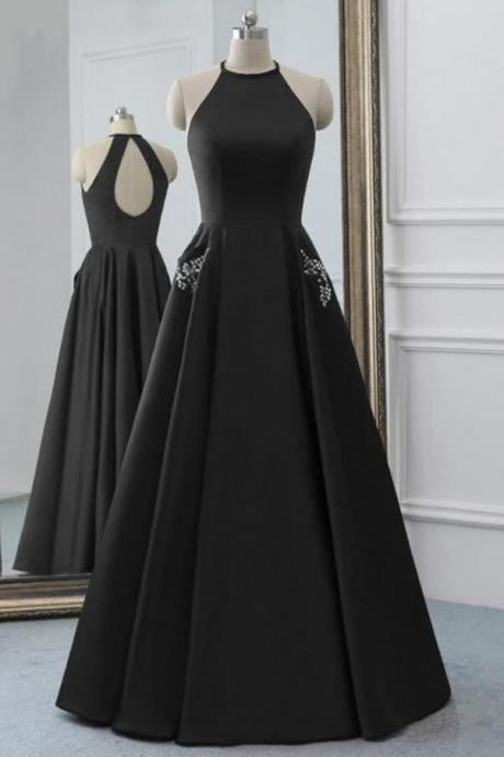 Sexy Backless Black Satin Halter Long Prom Dresses Strapless Prom Party Gowns Custom Made Evening Party Gowns