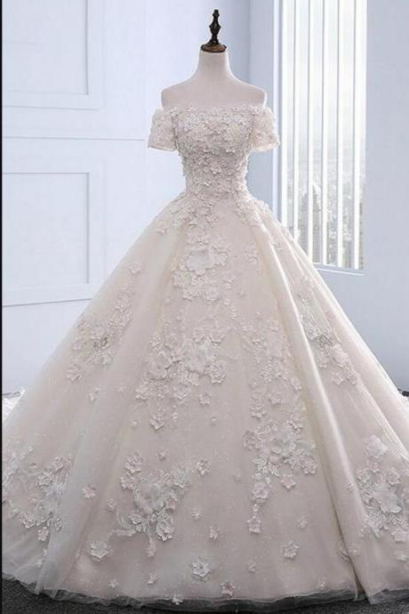 Cheap Lace Bal Gown Country Wedding Dresses With Appliqued Beaded Custom Made Bridal party Gowns