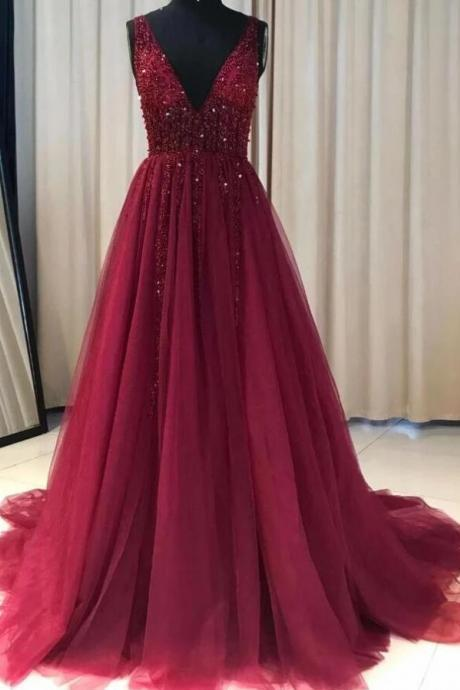 New Arrival Beaded Burgundy Tulle A Line Long Evening Dresses Custom Made Formal Evening Gowns ,Cheap Women Gowns 2020