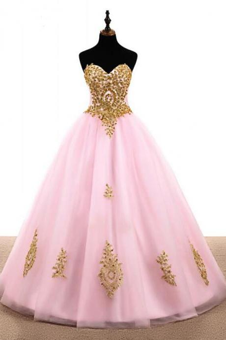 Off Shoulder Pink Tulle A Line Long Prom Dresses With Gold Lace Beaded Cheap Quinceanera Party Gowns Sexy Quinceanera Party Gowns
