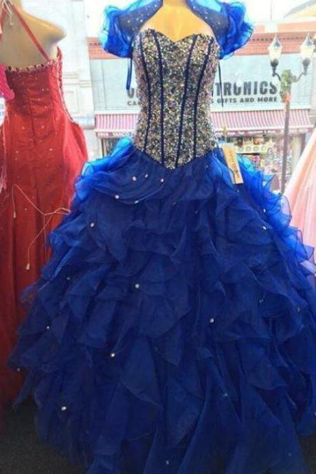 Plus Size Royal Blue Beaded Crystal A Line Quinceanera Dresses With Skirts Tiers Custom Made Quinceanera Party Gowns ,Long Prom Dresses 2020