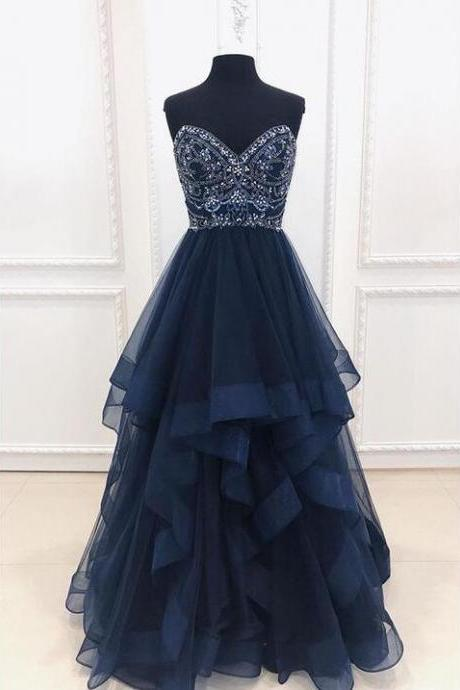 Navy Blue Tulle A Line Beaded Long Prom Dresses Custom Made Women Party Gowns , Formal Evening Dress, Long Evening Gowns