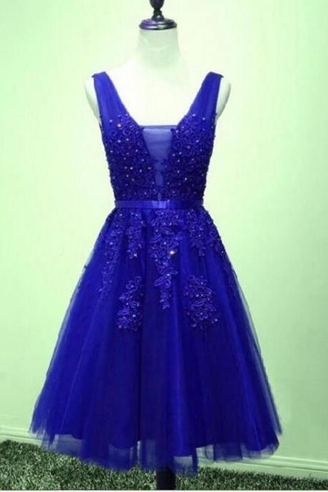 Royal Blue V-Neck Lace Beaded Short Homecoming Dress Backless Mini Party Gowns Custom Made Cocktail Party Gowns 2020
