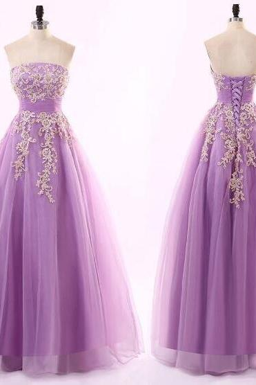 Cheap A Line Purple Tulle Long Prom Dresses With Lace Appliqued Custom Made Women Party Gowns ,2020 Cheap Party Gowns