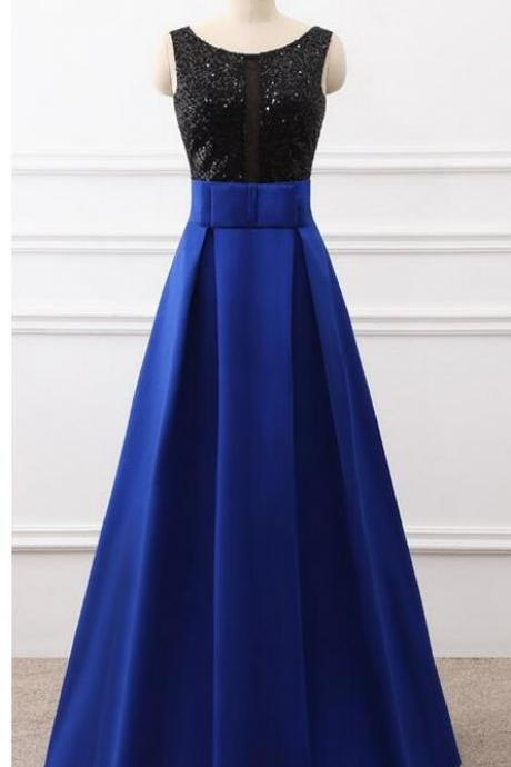 New Arrival Royal Blue Satin A Line Prom Dresses Black Sequin Corset Prom Party Gowns 2020 Wedding Guest Gowns ,Formal Evening Dress